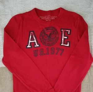 Mens AEO Thermal long sleeve shirt red XS